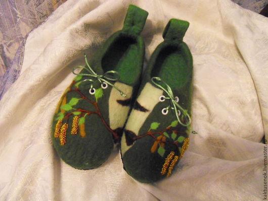"""Обувь ручной работы. Ярмарка Мастеров - ручная работа. Купить Тапочки войлочные """"Березовые сережки"""". Handmade. Тёмно-зелёный"""