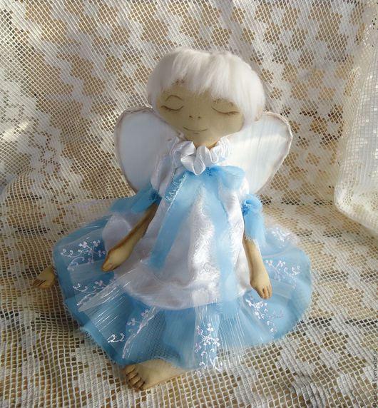 Человечки ручной работы. Ярмарка Мастеров - ручная работа. Купить Зимний ангел Софи. Handmade. Голубой, оберег