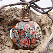 Украшения handmade. Livemaster - original item Copper treasure - pendant large bead glass lampwork lentils. Handmade.