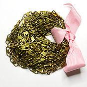 Материалы для творчества ручной работы. Ярмарка Мастеров - ручная работа Винтажная латунная цепочка, браслет с застежкой. Handmade.