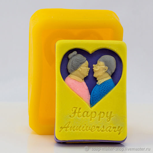 Silicone mold for soap 'happy anniversary', Form, Shahty,  Фото №1