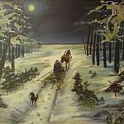 """Картины и панно ручной работы. Ярмарка Мастеров - ручная работа Картина """"Ночная поездка"""". Handmade."""