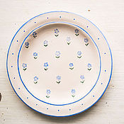 Посуда handmade. Livemaster - original item Forget-me-nots. A plate of food, ceramics. Handmade.