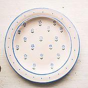 Посуда ручной работы. Ярмарка Мастеров - ручная работа Незабудки. Тарелка пищевая, керамика.. Handmade.