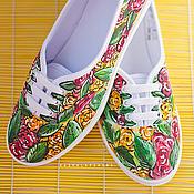 Обувь ручной работы. Ярмарка Мастеров - ручная работа Кеды с росписью Think floral. Handmade.