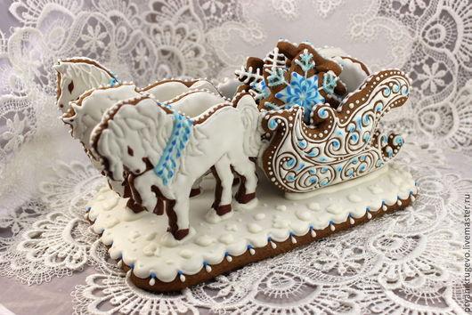 пряник медовый, пряник русская тройка, пряник лошади, пряник зимние сани, пряники
