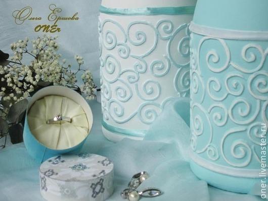 Свадебные аксессуары ручной работы. Ярмарка Мастеров - ручная работа. Купить Tiffany style (оформление шампанского). Handmade. Бирюзовый, юбилей