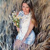 handmade. Livemaster - original item Portrait oil painting on canvas. Girl with daisies.. Handmade.