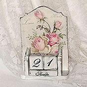 """Канцелярские товары handmade. Livemaster - original item Вечный календарь шебби шик  """" Розовый зефир"""". Handmade."""