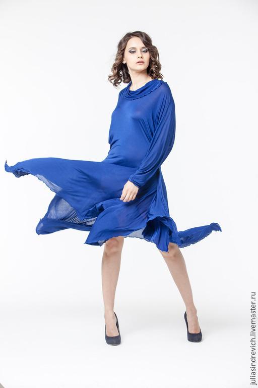 АГ_011 Платье симметричное ярко-синее, с длинными рукавами, 100% вискоза, тонкий трикотаж.
