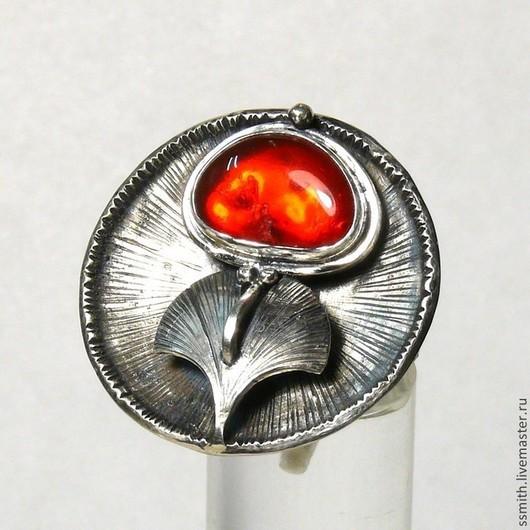 Кольца ручной работы. Ярмарка Мастеров - ручная работа. Купить Кольцо серебряное с натуральным огненным опалом 4. Handmade.