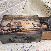 Подарки к праздникам ручной работы. Ярмарка Мастеров - ручная работа Fishing Relax, короб для рыбака. Handmade.