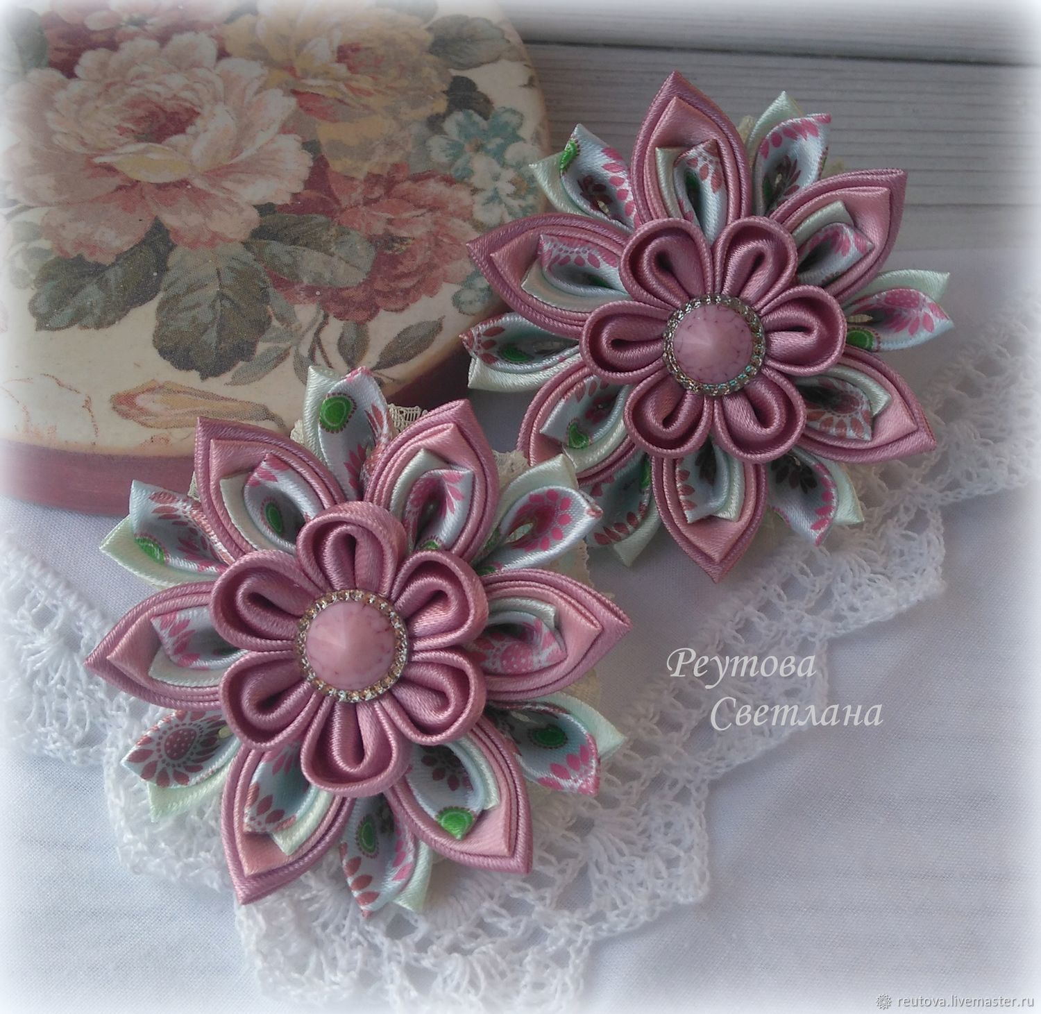 Gum Dusty rose in the technique of kanzashi, Clips, Chernogolovka, Фото №1