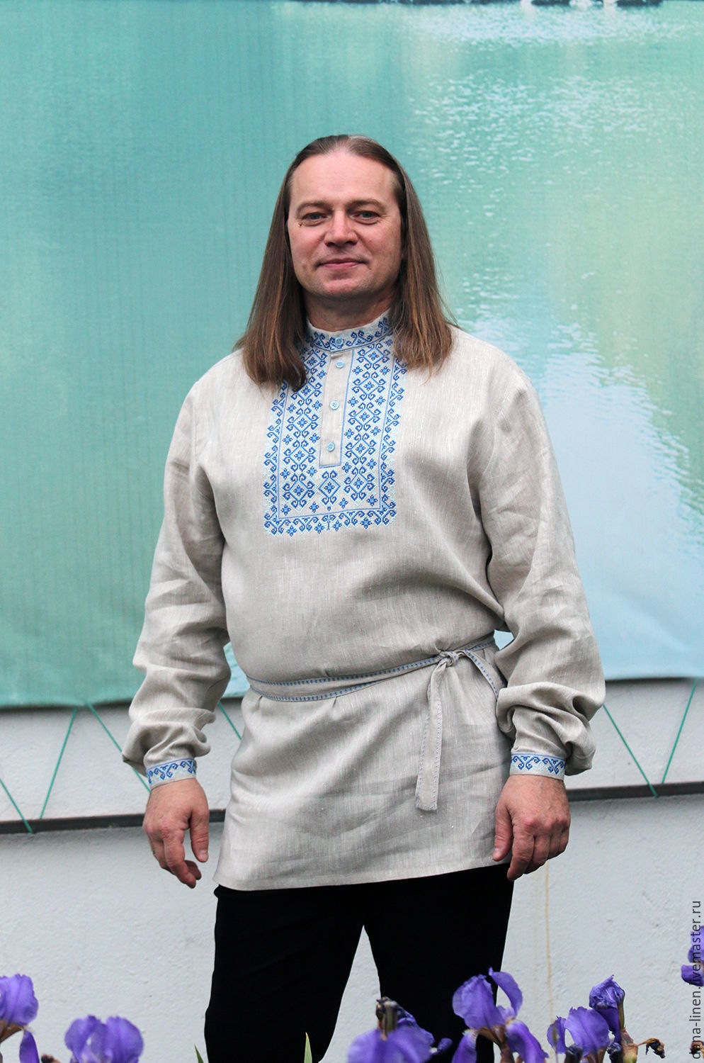 Linen shirt Festive gray (flax color) with cross stitch, People\\\'s shirts, Moscow,  Фото №1