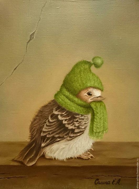 """Животные ручной работы. Ярмарка Мастеров - ручная работа. Купить """"Птичка в шапочке """", холст/ масло, 15х20. Handmade. Комбинированный"""