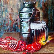 Картины ручной работы. Ярмарка Мастеров - ручная работа Картина маслом натюрморт с пивом. Handmade.
