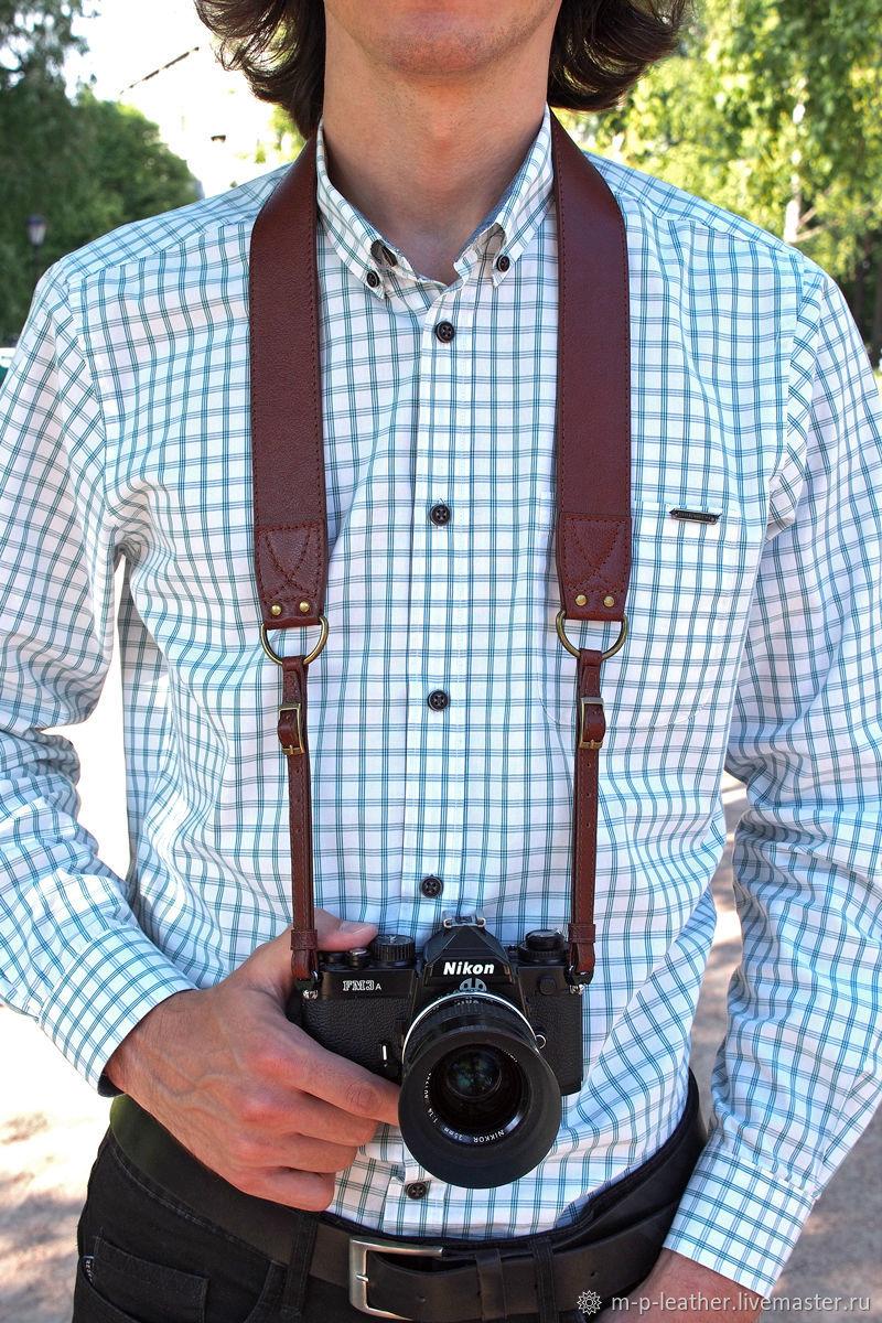 Ремень для фотоаппарата DARKROOM из двухслойной натуральной кожи, Ремни, Санкт-Петербург,  Фото №1