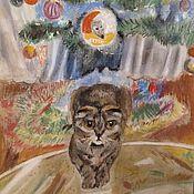 Картины ручной работы. Ярмарка Мастеров - ручная работа Пастель Кот под елкой (портрет животного по фото). Handmade.