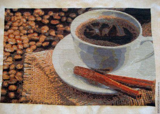 Натюрморт ручной работы. Ярмарка Мастеров - ручная работа. Купить Картина крестиком Кофе с корицей - единственный экземпляр. Handmade. Коричневый