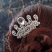 Украшения handmade. Livemaster - original item Comb with stone crown wedding comb