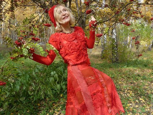 Костюмы ручной работы. Ярмарка Мастеров - ручная работа. Купить Осень в красных  тонах. Handmade. Ярко-красный, романтический стиль