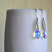 Украшения handmade. Livemaster - original item Silver earrings with rainbow crystals. Handmade.
