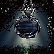 """Подвеска ручной работы. Ярмарка Мастеров - ручная работа Кулон с соколиным глазом """"Ночь"""". Handmade."""