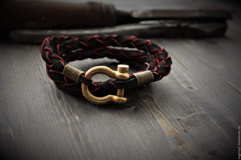 The genuine leather bracelet,men bracelet ,bracelet with bronze fortress, Bead bracelet, Volgograd,  Фото №1
