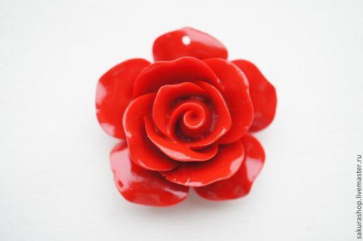 Для украшений ручной работы. Ярмарка Мастеров - ручная работа. Купить Роза из пресс коралла подвеска 57 мм. Handmade.