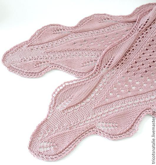 летняя шаль вязаная шаль хлопковая шаль розовая шаль пепельно-розовый