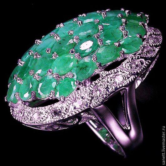 """Винтажные украшения. Ярмарка Мастеров - ручная работа. Купить Гигант"""" Массивное кольцо с изумрудами """"Гигант"""". Handmade. Зеленый, массивное кольцо"""