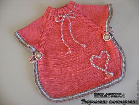 Одежда для девочек, ручной работы. Ярмарка Мастеров - ручная работа. Купить Вязаное пончо-накидка для девочки. Handmade. Коралловый, для прогулок