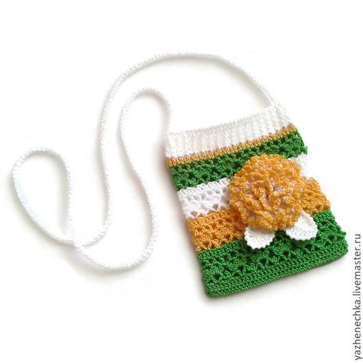 Детские аксессуары ручной работы. Ярмарка Мастеров - ручная работа. Купить Сумочка и браслетик для девочки вязаные из хлопка, комплект. Handmade.