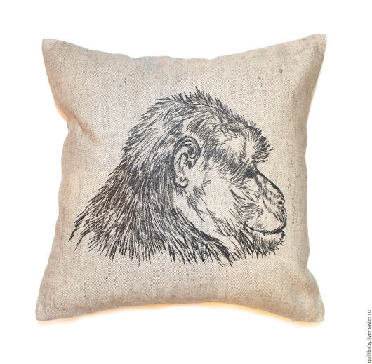 """Текстиль, ковры ручной работы. Ярмарка Мастеров - ручная работа. Купить Декоративная подушка """"Обезьяна"""". Handmade. Серый, обезьяна, горилла"""