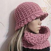 Шляпы ручной работы. Ярмарка Мастеров - ручная работа Комплект-шляпка и шарфик в цвете  пыльная роза.. Handmade.