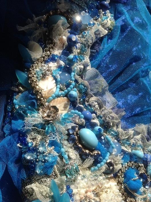 """Колье, бусы ручной работы. Ярмарка Мастеров - ручная работа. Купить Колье-коллаж """"Небесное"""". Handmade. Голубой, синий, восхитительное"""
