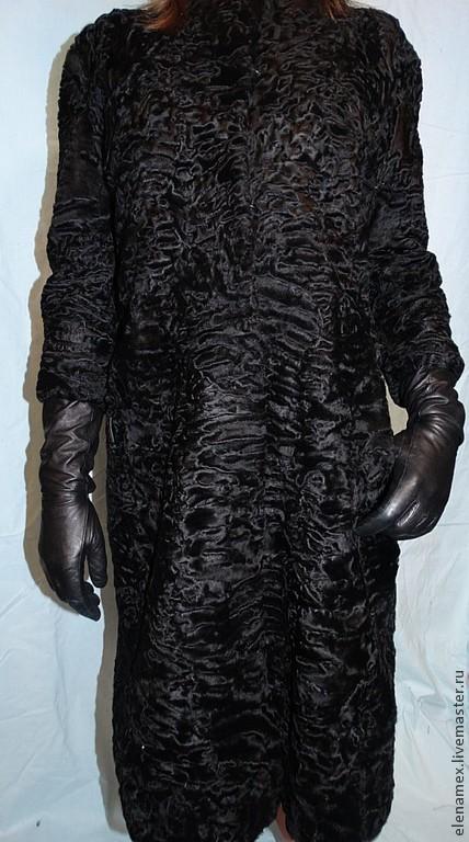 Верхняя одежда ручной работы. Ярмарка Мастеров - ручная работа. Купить Пальто из каракуля swakara. Handmade. Черный, пальто из каракульчи