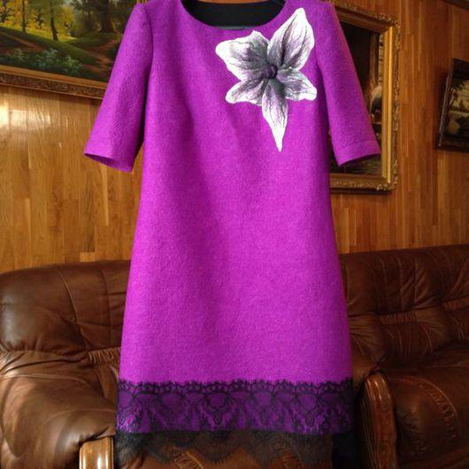 Платья ручной работы. Ярмарка Мастеров - ручная работа. Купить Лиловое платье из войлока, с кружевом. Handmade. Платье, платье с цветами