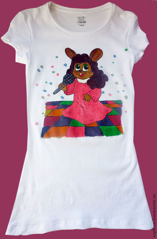 футболка, футболка  с рисунком, футболка на заказ, футболка с росписью, футболка с изображением, заяц, певица, сцена, артист, слава
