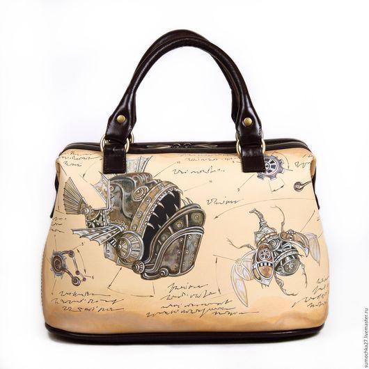 Женские сумки ручной работы. Ярмарка Мастеров - ручная работа. Купить Саквояж женский. Handmade. Бежевый, рыба, коричневый, удобный