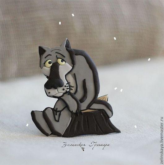 Магниты ручной работы. Ярмарка Мастеров - ручная работа. Купить Жил-был волк. Магнит. Handmade. Серый