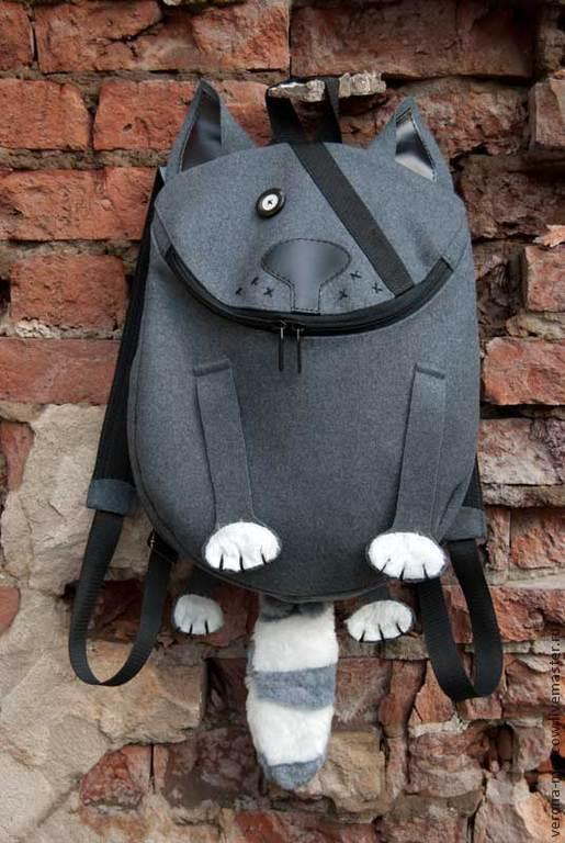 Рюкзаки ручной работы. Ярмарка Мастеров - ручная работа. Купить Рюкзак Котофей. Handmade. Серый, теплый, рюкзак мужской