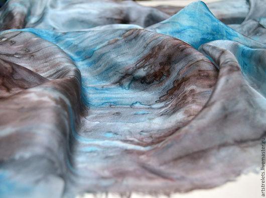"""Шали, палантины ручной работы. Ярмарка Мастеров - ручная работа. Купить Палантин большой шелковый """"Гренландия"""" батик. Handmade. Бирюзовый, Батик"""