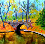 Картины и панно handmade. Livemaster - original item Bridge in the park, 80x60 cm, oil on canvas.. Handmade.
