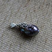 Кулон ручной работы. Ярмарка Мастеров - ручная работа Кулон с жемчужиной барокко черный павлин. Handmade.