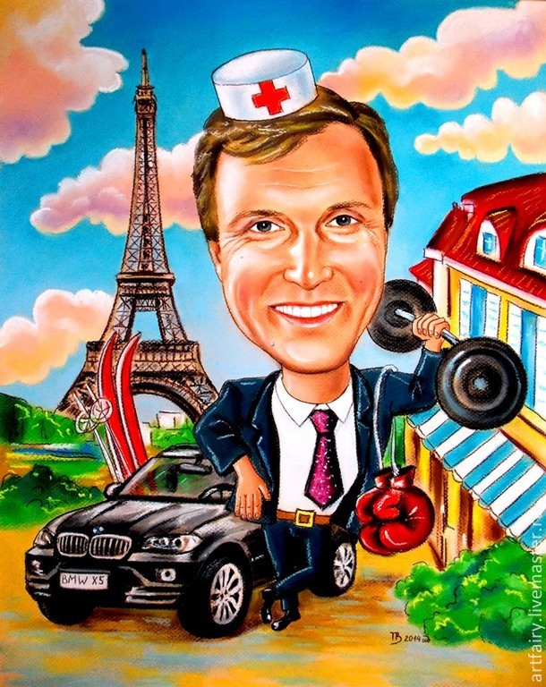Cartoon custom handmade Gift Cartoon friend, beloved, colleague, husband, father, brother. The cartoon at the doctor, who loves Paris, cars and sports