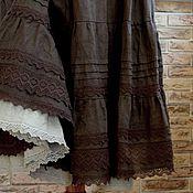 Одежда handmade. Livemaster - original item Skirt Boho linen long Bitter chocolate for Tatiana. Handmade.