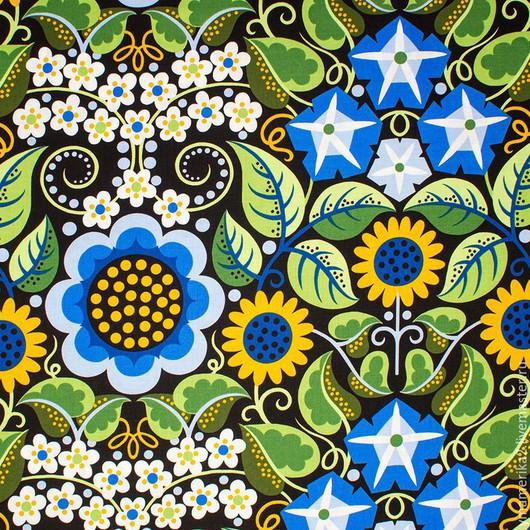 Шитье ручной работы. Ярмарка Мастеров - ручная работа. Купить Американский хлопок  ЦВЕТОЧНЫЙ УЗОР голубые цветы. Handmade.