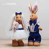Куклы и игрушки ручной работы. Ярмарка Мастеров - ручная работа Свадебная пара - зайчики, 30 см. Handmade.