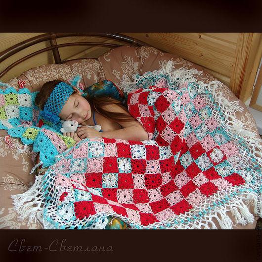 """Текстиль, ковры ручной работы. Ярмарка Мастеров - ручная работа. Купить Вязаное крючком ажурное покрывало """"Утренние маки"""". Handmade."""